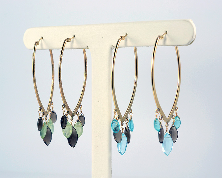 semi-precious colored stone earrings